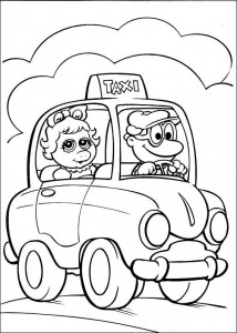 pagina da colorare Piggy in taxi
