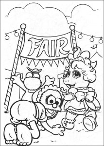coloring page Piggy to the fair