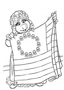 målarbok Piggy designer Muppet flagga