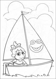 coloring page Piggy sails
