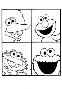 pagina da colorare Pino, Elmo, Zoe e Cookie Monster