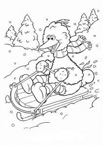 coloring page Pino on the sled