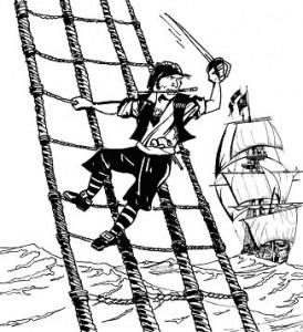 kleurplaat Piraat in het want