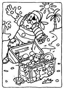 coloring page Pirate finds treasure chest