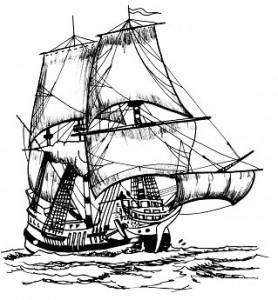 målarbok Piratfartyg