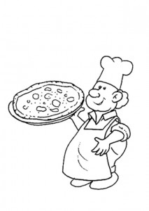coloring page pizza baker
