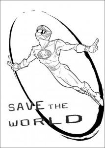 målarbok Power Rangers Rädda världen