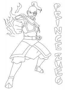 kleurplaat Prins Zuko (1)