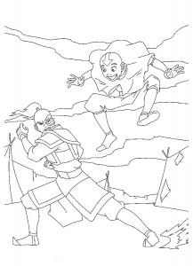 kleurplaat Prins Zuko en Aang
