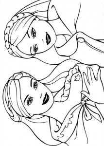 coloring page Princess Annelise and Erika