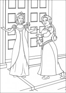 coloring page Princess Fiona and the queen