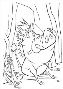 kleurplaat Pumba en Timon schrikken zich een hoedje