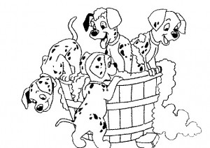coloring page Puppies in the bath