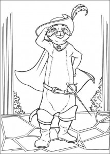 coloring page Puss in Boots gives salute