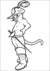 kleurplaat Puss in Boots