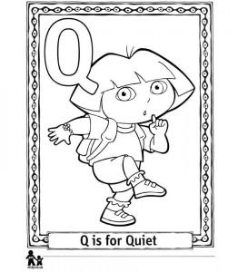 coloring page Q Quiet = Silent