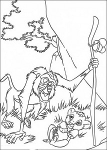 coloring page Rafiki and the just born Simba