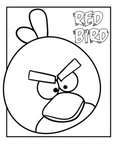 coloring page red bird