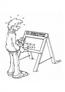 coloring page Calculating on the blackboard