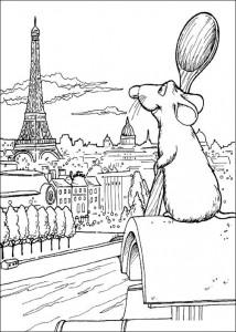 kleurplaat Remy kijkt over Parijs