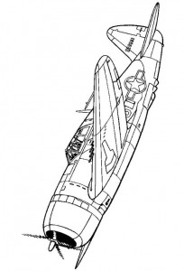 coloring page Republic P-47D-20 Thunderbolt 1943