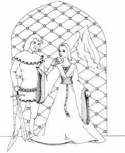 målarbok Knight and lady
