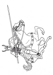 coloring page Knight on hest (1)