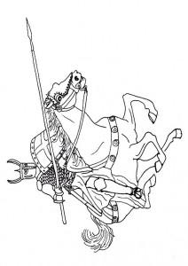 kleurplaat Ridder op paard (1)
