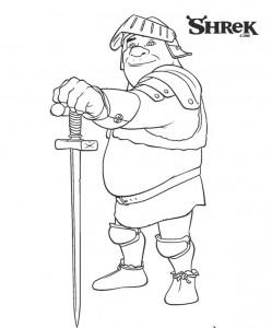 kleurplaat Ridder Shrek
