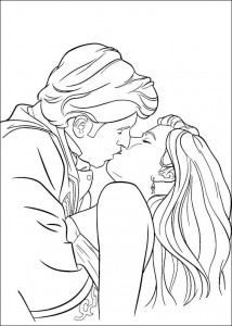 coloring page Robert kisses Princess Giselle