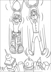 Roddy and Rita coloring page on a parachute