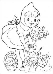 kleurplaat Roodkapje plukt bloemen (1)