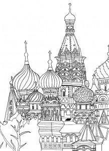 målarbok helgon-basilika-katedralen-röd-kvadrat-moskva