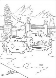 coloring page Sally and Doc Hudson for the tire shop of Guido