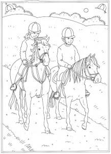 kleurplaat Samen op het paard