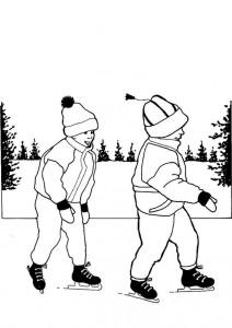 kleurplaat Samen schaatsen