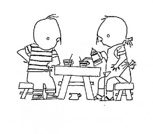 coloring page Drinking tea together