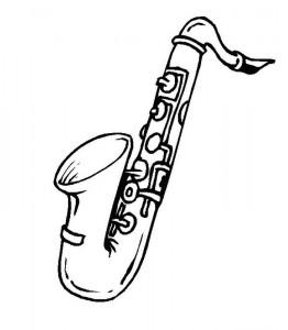 kleurplaat Saxofoon (2)