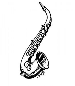 kleurplaat Saxofoon (3)