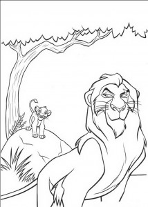 coloring page Scar and the little Simba