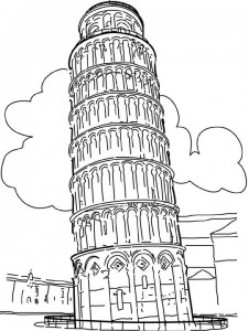 coloring page Leaning tower of Pisa, Italy (1)