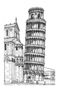coloring page Leaning tower of Pisa, Italy