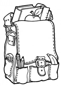 coloring page School bag with apple
