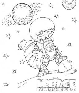 kleurplaat scrat in space