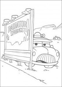coloring page Sherrif awaits Lightning McQueen
