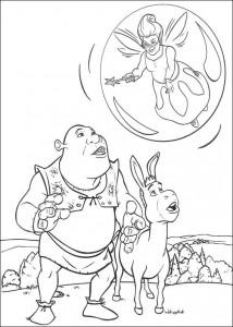 kleurplaat Shrek, de ezel en goede fee
