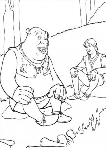 coloring page Shrek and Arthur in conversation