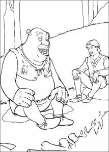 målarbok Shrek och Arthur i konversation