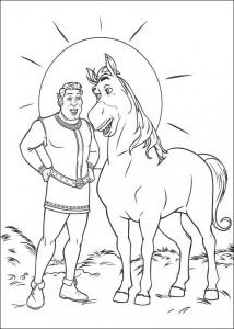kleurplaat Shrek en de ezel (1)