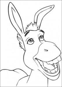 kleurplaat Shrek en de ezel (2)